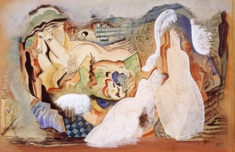Bela Kádár, Femmes et chevaux dans un paysage, c. 1936-38, watercolor, gouache, pen, brown and black ink and gray wash on tan board, 13 x 19 1/2 inches