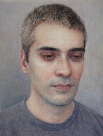 Robert Bauer, J.M.C. (Joan), 2019, gouache on paper, 6 5/8 x 5 inches