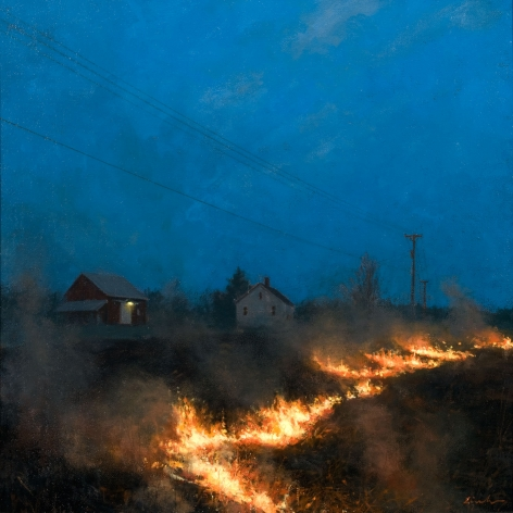 Linden Frederick, Field Fire (SOLD), 2007, oil on panel, 12 1/4 x 12 1/4 inches
