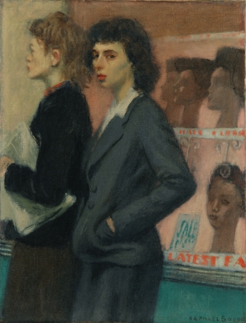 Raphael Soyer, Passersbys, 1933, oil on canvas, 16 x 12 inches
