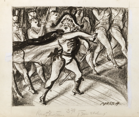 Reginald Marsh, Majorette, c. 1940, crayon and ink on paper, 11 x 14 inches