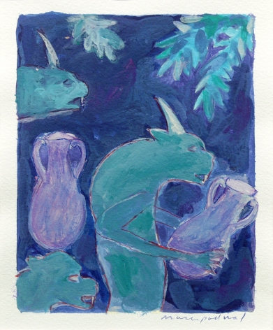 Mark Podwal, Demons Watering King Solomon's Gardens, 1998, acrylic, gouache and colored pencil on paper, 12 x 10 inches
