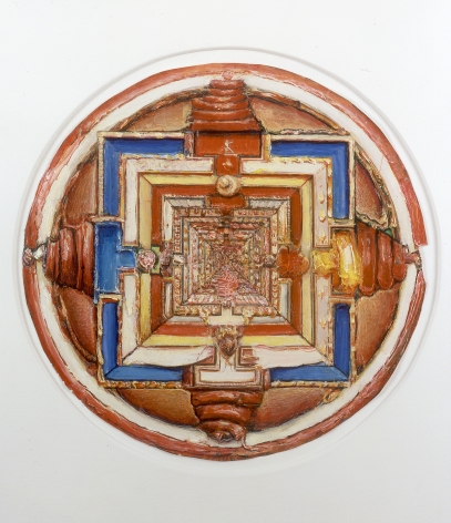 gregory gillespie, Small Mandala, 1996, oil on paper, 12 1/2 diameter