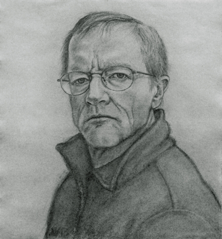 william beckman, Self Portrait, 2007, charcoal on paper, 28 x 25 1/2 inches