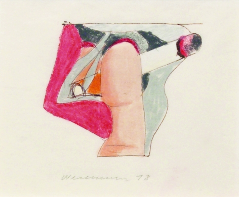 Tom Wesselmann, Study for a Smoker, 1978, colored pencil on tracing paper, 3 3/8 x 5 inches