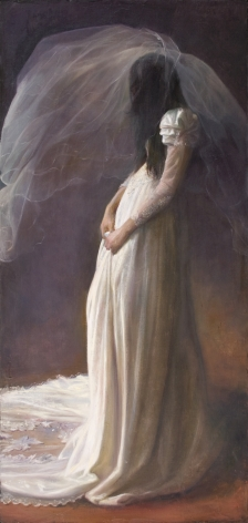 Bride with Veil, 2012, oil on canvas mounted to board, 45 3/4 x 22 inchessteven assael,