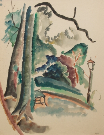 Max Weber, In the Park, 1912, watercolor on paper, 11 1/4 x 8 1/2 inches
