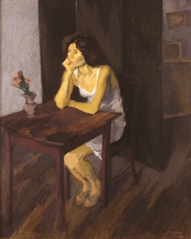 Raphael Soyer, Woman at Table with Plant, 1980, oil on canvas, 40 x 32 inches