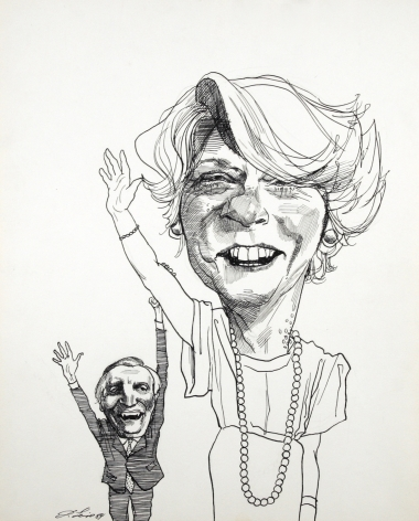David Levine, Ferraro & Mondale, 1984, ink on paper, 13 1/2 x 11 inches