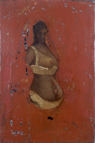 gregory gillespie, Woman on Red Background, n.d., oil on panel, 11 x 7 1/4 inches
