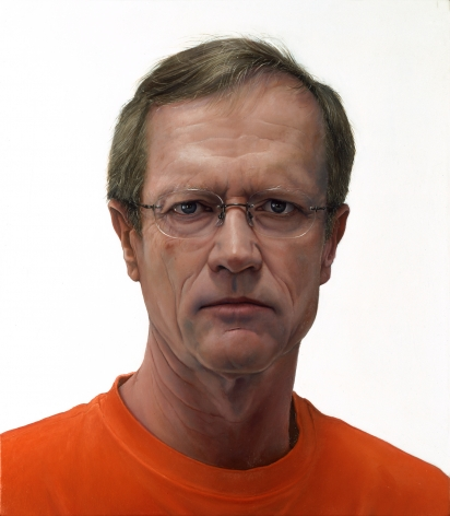william beckman, Self Portrait (orange shirt) (SOLD), 2003, oil on panel, 18 1/2 x 16 1/4 inches