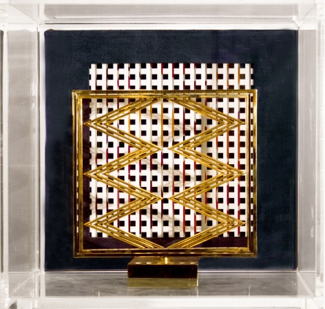 Yaacov Agam, Sens presence sens (SOLD), c.1976, polished bronze in Plexi case with book, sculpture: 8 x 8 x 8 inches, Plexi: 12 x 12 x 13 inches