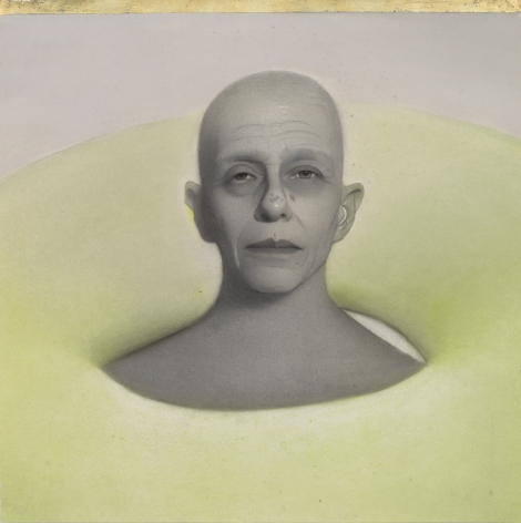 susan hauptman, Self Portrait, 2013, charcoal and mixed media on paper, 33 1/4 x 33 1/4 inches