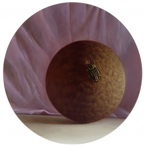 wade schuman, Pride, 1990-91, oil on linen on panel, 36 inches diameter