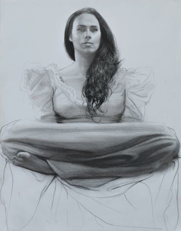 steven assael, Monica with Legs Crossed, 2014, crayon with graphite on paper, 14 x 11 1/2 inches