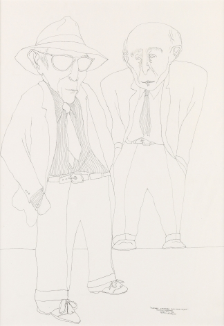 Benny Andrews, Portrait of Raphael and Moses Soyer (SOLD), 1986, pen and ink on wove paper, 20 1/4 x 14 3/8 inches