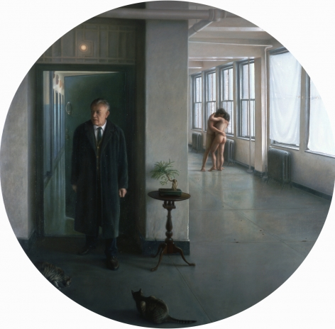 wade schuman, Man Entering Room (Reccurance) (SOLD), 2001, oil on linen, 72 inches diameter