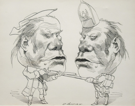 David Levine Gerald Ford (double image), ink on paper, 11 x 13 1/2 inches