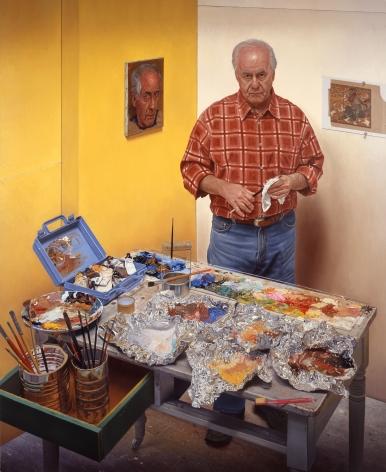 james valerio, Self in Studio, 2008, oil on canvas, 86 x 70 inches