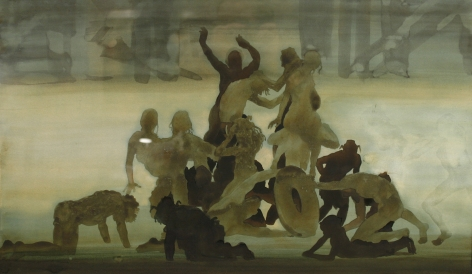 David Levine, Coney Island Battle of the Silhouette, 1977, watercolor on paper, 16 3/4 x 27 1/4 inches