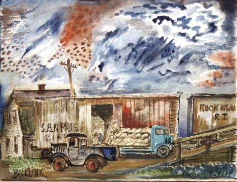 David Burliuk, Loading Trucks, Southampton, Long Island, New York, nd, watercolor on paper, 13 x 16 inches