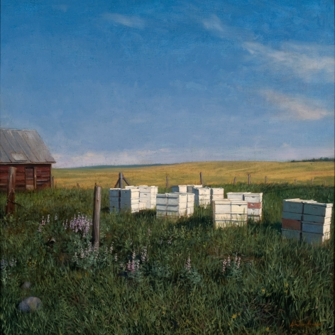 Linden Frederick, Worker Bees (SOLD), 2008, oil on panel, 12 1/4 x 12 1/4 inches