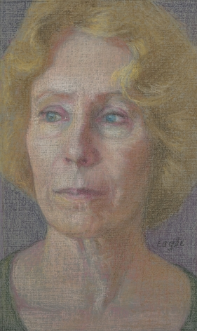 Ellen Eagle, Portrait of Alexandra Tyng, 2018, pastel on pumice board, 7 1/4 x 4 1/4 inches