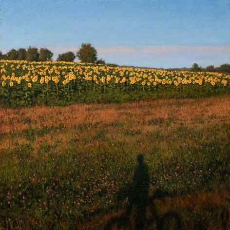Linden Frederick, Self-Portrait in Minnesota (SOLD), 2008, oil on panel, 12 1/4 x 12 1/4 inches