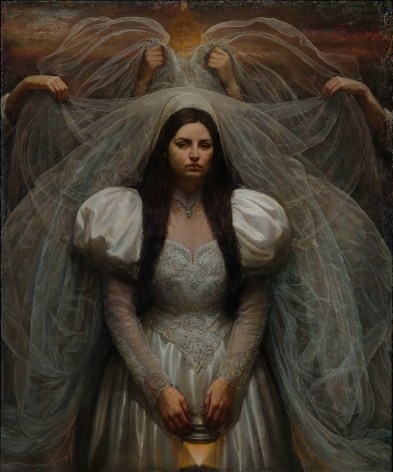 Steven Assael, Bride with Lantern, 2014, oil on canvas, 72 x 60 inches