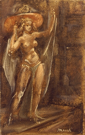Reginald Marsh, Stripper with Hat, 1951, oil on board, 9 x 5 inches
