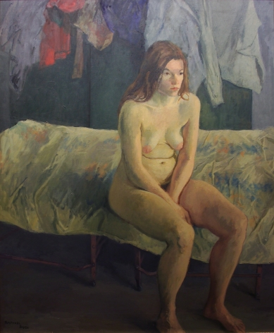 Raphael Soyer, Iron Cot, 1972, oil on canvas, 50 x 40 inches