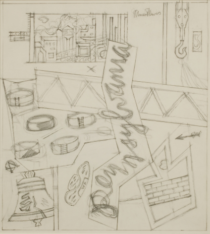Stuart Davis, Sketchbook 23-1 (Study for 'Pennsylvania'), c. 1946, pencil on paper, 16 3/4 x 13 3/4 inches