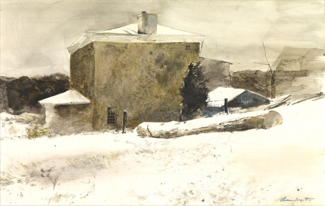 Andrew Wyeth, Firewood (Study for Groundhog Day) , 1959, drybrush and watercolor on paper, 14 x 22 inches