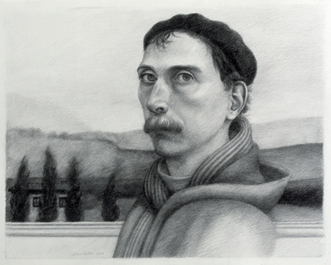 Alan Feltus, Self-Portrait with Four Cypress Trees (SOLD), 2004, pencil on heavy Fabriano paper, 13 3/4 x 17 1/4 inches