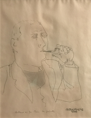 John Graham, Portrait of a Painter (Jo Cain), 1940, pencil on paper, 16 1/2 x 13 inches
