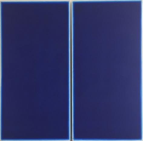 Ted Kurahara, Double Blue, 1982,acrylic on panel, 72h x 72w in