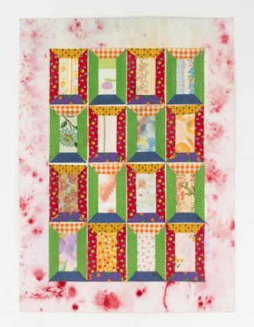 Miriam Schapiro, Again Sixteen Windows, 1973, enamel spray, watercolor, and fabric on paper, 30 1/2h x 22 1/2w in