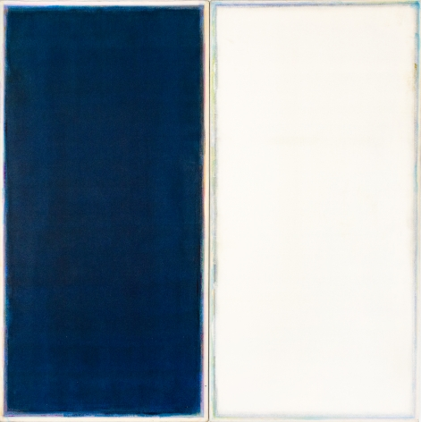 Ted Kurahara, Double Portait Blue + White for K and M, 1981