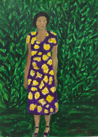 Jamillah Jennings, Untitled (Purple and Gold Dress in the Garden), 1990