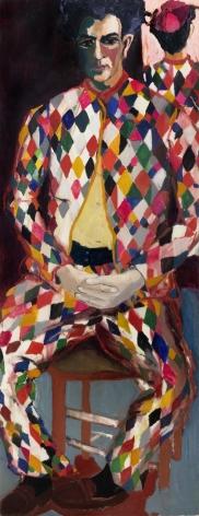Mimi Gross, Chaim Wearing Tony Sarg's Harlequin Suit, 1962