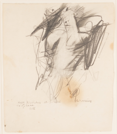 Willem de Kooning, Untitled (Woman), 1956, Graphite and traces of oil on paper, 12.88h x 11.13w in