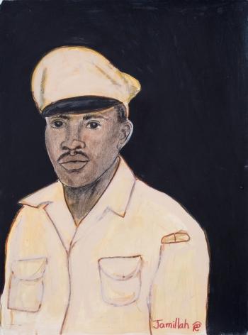 Jamillah Jennings, Untitled (Military Portrait on Dark Ground), 1989