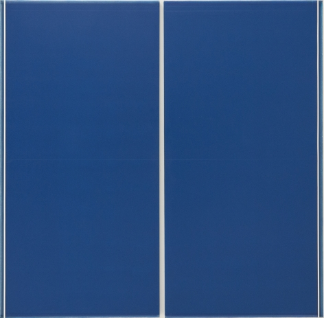 Ted Kurahara, Double Blue over Blue with White Lines, 1986