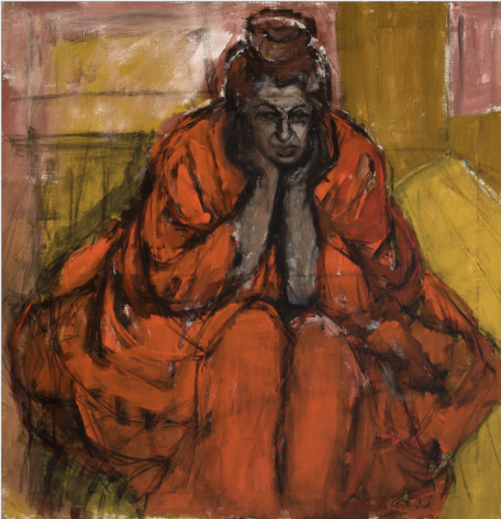 Shirley Gorelick, Untitled (seated woman in red robe)