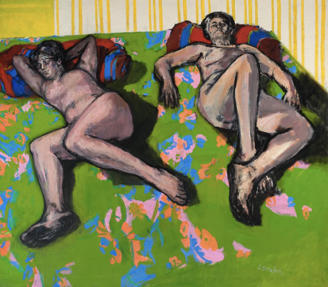 Shirley Gorelick, Nudes on Green Spread, 1966-67
