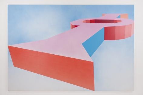 Miriam Schapiro, Keyhole, 1971, acrylic and spray paint on canvas, 71 1/2h x 106w in