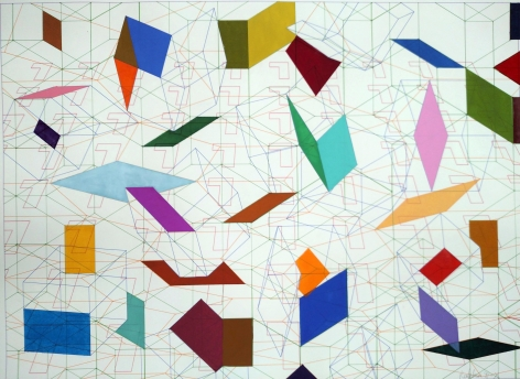 Tony Robbin, 91-X, 1991, Plotter drawing and hand painted watercolor on paper, 43h x 33 1/2w in