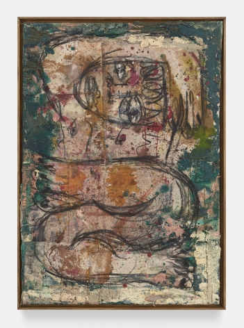 Daniel Crews-Chubb Acrobat (British green), 2019 Oil, oil bar, charcoal, ink, spray paint, coarse pumice gel and collaged fabric on canvas in artist's frame 41 x 29.25 in (104 x 75 cm)