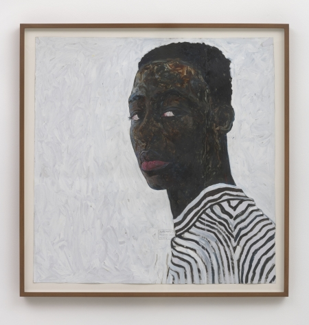 Amoako Boafo, Boy in a Black and White Stripe Shirt, 2018