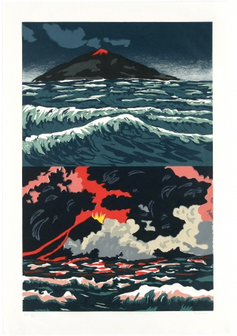 Bosman volcano woodcut
